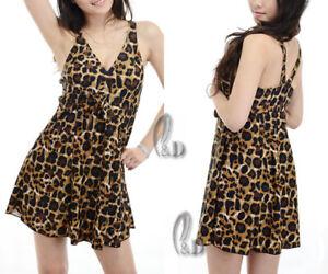 AU SELLER Sexy Swimwear Padded leopard Swimdress One Pcs Swimsuit SZ 8-20 sw030