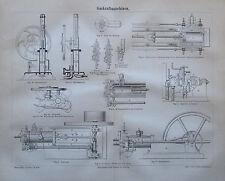 1889 GASKRAFTMASCHINEN alter Druck Antique Print Lithografie