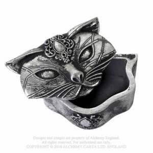 Alchemy Sacred Cat Trinket Box - Antique Gothic Jewellery Box Wicca Witch Mystic