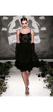 "$1000 JULIA CLANCEY UK LONDON BLACK CHIFFON ""AMBER"" FASHION WEEK DRESS XS S UK10"
