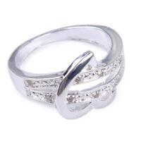 Größe7-9 Silber Herz Damen Ring Zierlich Ring Verlobungsring Zirkon Geschenk ye