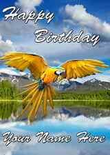 Ara Blu pappagallo CARD a5 Personalizzate BIGLIETTI D'AUGURI BUON COMPLEANNO ref804 Bird