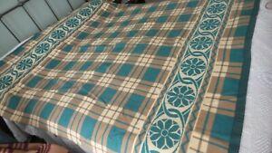 "Antique Vintage Cotton Blend BLANKET Green, Brown, Tan Plaid, 70""x66"""