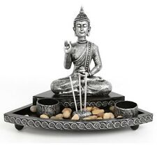 Meditating Buddha Incense & Tea Light Candle Holder Stand Garden Ornament Gift