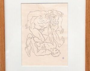 Jean Cocteau Drawing Nude Male Gay French Minotaur Theseus Mythological