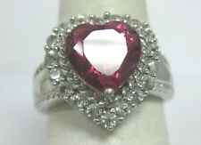 Clear Accents Cz Stones Size 8 Sterling Silver Engagement Heart Halo Ring Pink