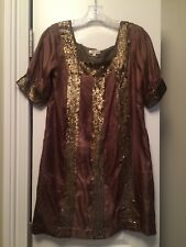 WALTER brand Vintage Sequin brown maxi Cocktail Dress, size 0