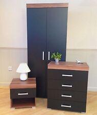 3 Piece Black & Walnut Bedroom Set! Wardrobe, 4 Drawer Chest, Bedside Table! NEW