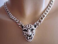 Damen Hals Kette Collier Modekette Panzer kurz Strass Silber 3D Leopard Bling lw
