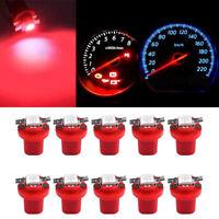 10 x Red LED B8.5D 1SMD 5050 T5 Car light Instrument lights Bulb Gauge Dashboard
