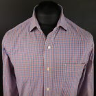 Tommy Hilfiger Mens Shirt 16 34-35 (LARGE) Long Sleeve Red SLIM FIT Check Cotton