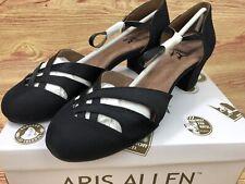 Size 10 Aris Allen Women's 1930sBlack Satin Low-Heeled Dance Shoes Street Soles
