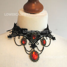 Gothic Victorian lace choker with Orange faux gems, vampire, gothic,