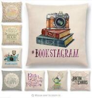 Book Pattern Cushion Cover Cotton Linen Waist Throw Pillow Case Sofa Home