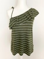 Old Navy Womens Top Blouse Size XS Olive Green White Striped Ruffle Off Shoulder