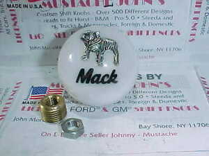 Mack Truck, 1970's retro, Roadway style Shift Knobs. (White W/ Black script)
