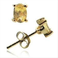 Citrine Gold Stud Fine Earrings