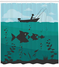 """Teal Shower Curtain Fishing on Boat Nautical Print for Bathroom 84"""" Extralong"""