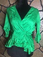 Zara Size XS Green Sateen Wrap Blouse