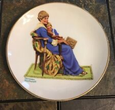 Vintage Norman Rockwell Bedtime 1984 Collectible Ceramic Gold Trimmed plate