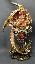 Dragon guarding a Large Jewel Mythical Fantasy Figurine Gold/Fuchsia  (B)