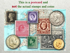 Postcard: Great Britain Stamps and coins of Yester Years