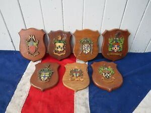 DECORATIVE ANTIQUE VINTAGE HERALDIC WOODEN COAT OF ARMS ARMORIALS ON SHIELDS