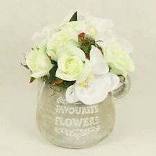 Artificial Roses and Orchid in Ceramic Jug, Handmade Silk Flowers in Vase