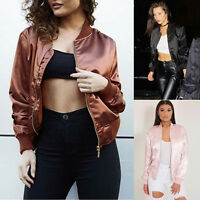 Fashion Womens Satin Bomber Jacket Classic Zip Up Biker Vintage Outwear Tops
