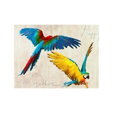 Quadro Animali Uccelli Pappagalli Stampa Mdf Tela Swarovski Arredo Casa Pannello