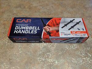 """NEW Cap Standard 14"""" Dumbbell Handles Pair Black Set of 2 Threaded"""