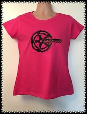 PINK Pedal Power Carbon Fibre Tee Tshirt Ladyfit Bicycle Bike Cycle MTB Road BMX
