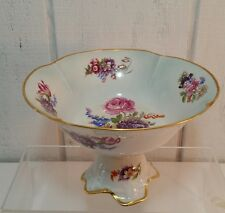 Limoges France Footed Floral Compote with Applied 22K Gold Trim