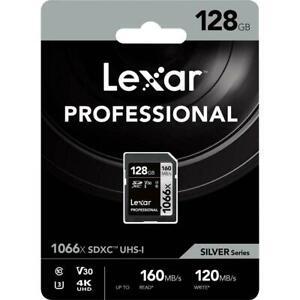 NEW Lexar Professional 1066x 128GB SDXC UHS-I Class 10 V30 SD Card Read 160MB/s