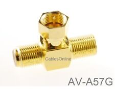 F-Type Connector 2-Way Male to 2-Female Gold-Plated T-Splitter, AV-A57G