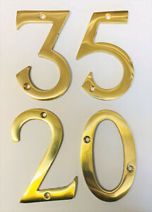 """75mm POLISHED BRASS DOOR NUMBERS 1,2,3,4,5,6,7,8,9,0 + LETTER A & B, 3"""" HIGH"""