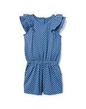 NWT Gymboree Sunwashed Days Girls Blue Diamond Ruffle Romper Sunsuit Jumpsuit