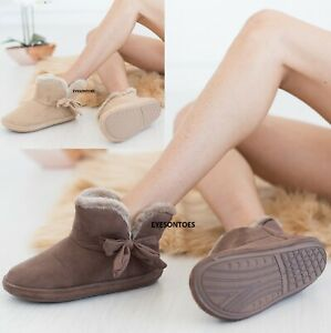 LADIES WOMENS WARM ANKLE BOOTIE BOW HARD SOLE INDOOR WINTER COMFY SLIPPERS SHOE