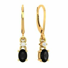 14k Yellow Gold Over Spinel & Diamond 6x4 mm Oval Drop Dangle Leverback Earrings