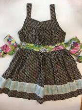 HTF Matilda Jane MJC House Of Clouds Allison Dress 6 Green Pink Flowers Sundress