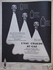 PUBLICITÉ 1959 L'EAU CHAUDE AU GAZ AVANTAGE SUBSTANTIEL - ADVERTISING