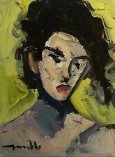 JOSE TRUJILLO ORIGINAL Oil Painting Modern Impressionist PORTRAIT WOMAN SIGNED