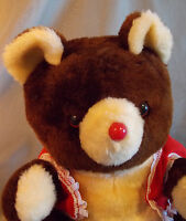 Christmas Komfy Bear Brown Plush Stuffed Animal 1985 Vintage