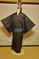 Retro Mens Japanese Kimono Samurai Bathrobe Uniform Obi Cosplay Robe Black Dress