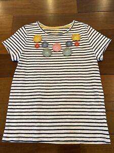 Mini Boden Girls White Navy Striped Flowers Applique Short Sleeve Shirt 7-8 EUC