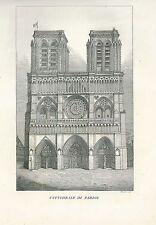 1849 CATTEDRALE DI PARIGI copperplate Pomba Ed. Notre-Dame Paris