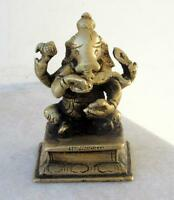 1850's Antique Old Rare Hand Carved Hindu God Ganesha Brass Statue Rich Patina
