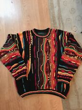 Coogi Style Sweater TUNDRA Bright 3D Men's L 90's VINTAGE Rainbow Color Cosby