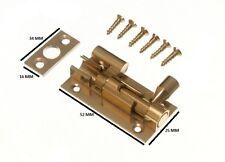 Door Barrel Slide Bolt Cranked Offset 50MM 2 Inch Brass With Screws Pack Of 3