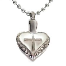 """2 Sets of """"Cross in My Heart w/ Cz"""" Cremation Urn Ash Jewelry Stainless Pendant"""